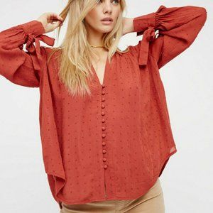 Free People Beaded Embellished Rust Shirt Top S US